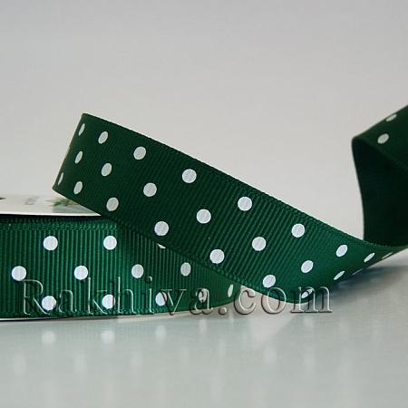 Панделка релефен сатен с точки на едро, 10 мм/10 м (зелено, бяло) , (10/10/206/587) над 30 броя