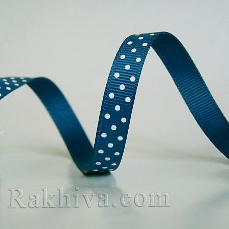 Панделка релефен сатен с точки на едро, 10 мм/10 м (тъмно синьо), (10/10/205/365/029) над 30 броя