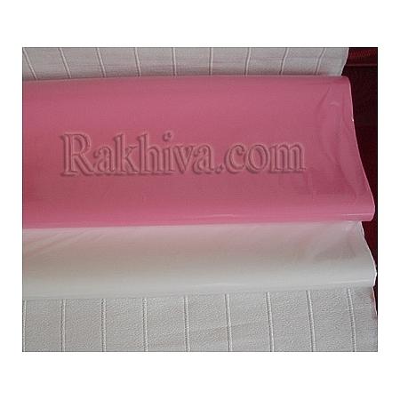 Едноцветен целофан за цветя (бяло и розово) на пакет, ЕДРО бяло (50/50/1310) над 100 бр.