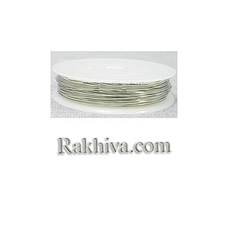 Тел месинг - цвят сребро 0.8мм, 1 ролка CW0.8mm006 (0.8мм/ 3м)