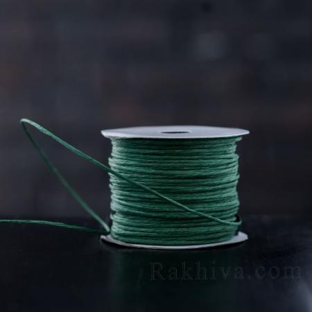 Хартиен шнур с тел, 2/50/6165 тъмно зелено, 50 метра