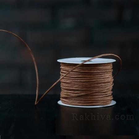 Хартиен шнур с тел, 2/50/6134 тъмно кафяво, 50м