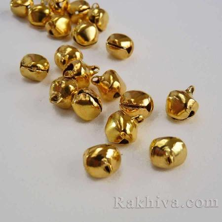 Звънчета - златни (за бижута, за изработка на полички за танци, туту, роклички за малки принцеси), 4 мм/ 6мм ( 50 бр.)
