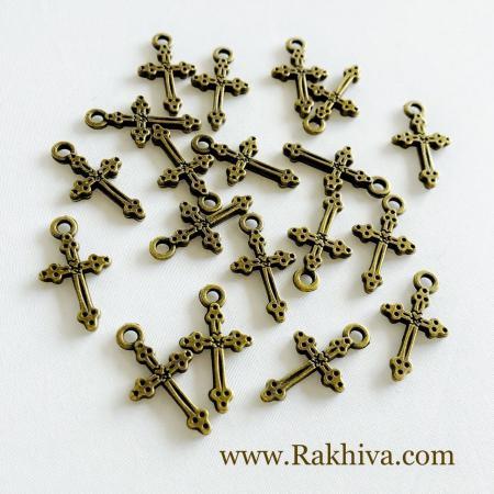 Кръстчета цвят старо злато, 20бр (EA9080Y-AG)