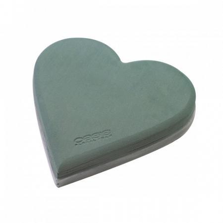 Пиафлора сърце с вакуум, фоам, гъба за цветя OASIS, пиафлора  сърце с вакуум 19/20/4.5 см