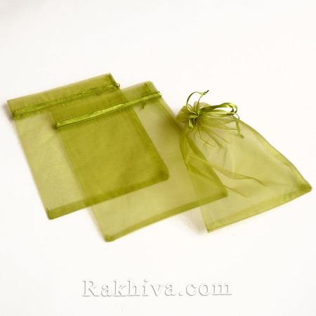 Торбички от органза войнишко зелено , 10 см / 12 см, (10/12/8264)