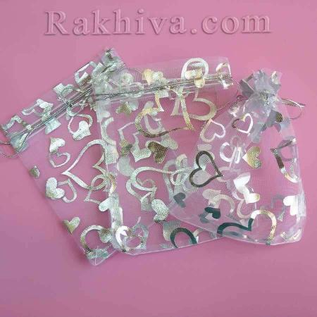 Торбички от органза бяло със сребърни сърца