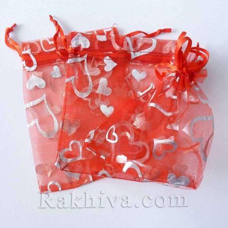 Торбички от органза червено със сребърни сърца, 10 см / 12 см, (10/12/8280-2)