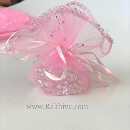 Торбички от органза - кръг розово със сребърен брокат