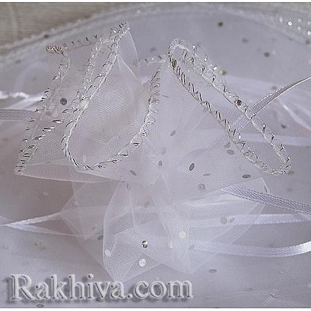 Торбички от органза - кръг бяло със сребърен брокат , 26 см, (26/8210)
