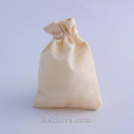 Ленени торбички за подаръци екрю, 9 см/ 12 см, (9/12/8312)