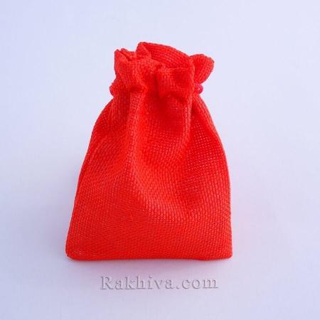 Ленени торбички за подаръци червено, 9 см/ 12 см, (9/12/8380)