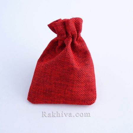 Ленени торбички за подаръци бордо, 9 см/ 12 см, (9/12/8386)