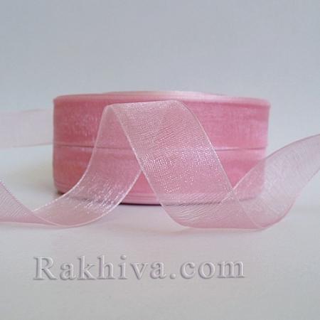 Тъкани панделки Органза , 1 ролка 1 cm/50ярда розово (10/50/2243)