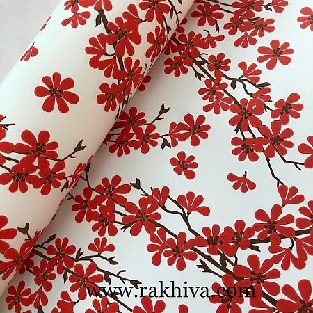 Италиански целофан Пролетни цветя екрю, червено, 100 см х 100 см (листи) (100/100/23/12-80)