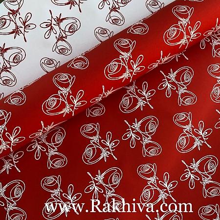 Италиански целофан Рози червено, бяло, 100 см х 100 см (листи) (100/100/24/80-10)