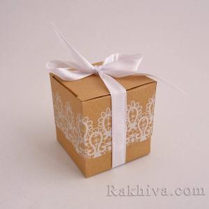 Малки кутийки за подаръчета, 1 бр., 50x50x50мм дантела с панделка