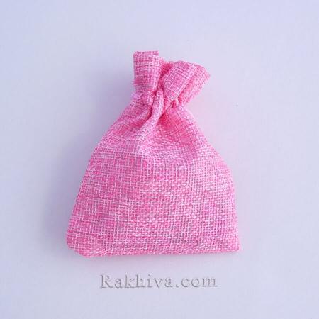 Ленени торбички за подаръци розово, 9 см/ 12 см , (9/12/8340)