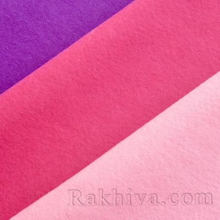 Филц за декорация и шиене, 80/100 см розово (80/100/613) - мек филц