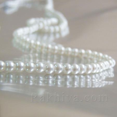 Перли (изкуствени) - бяло, 1 наниз 4mm/ 230 бр. (4mm10)