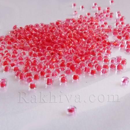 Мъниста за бижута, за декорация, червено, 50 гр. ( 2 mm - 80)