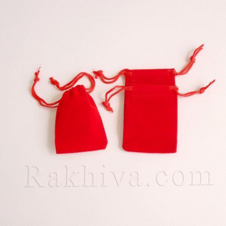 Велурени торбички, 5 см/7 см червено, (5/7/8080)