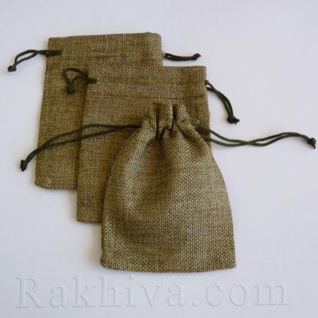 Ленени торбички за подаръци маслено зелено, 10 см/14 см, (10/14/8367)