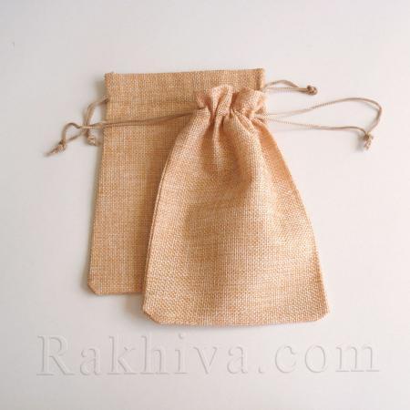Ленени торбички за подаръци праскова