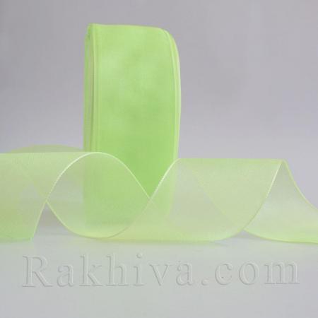 Тъкани панделки органза , 1 ролка 2.5 cm/ 50ярда ярка резеда (25/50/2261)