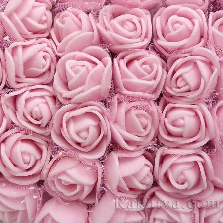 Силиконови розички - клонка, вечни рози, перлено розово (2,5 см/12 бр)