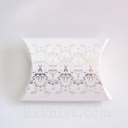 Малки кутийки за подаръчета, бяло, сребро 1 бр, 70х90х25 мм