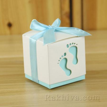 Малки кутийки за подаръчета , кутийка бебе синьо 1 бр, 60х60х60