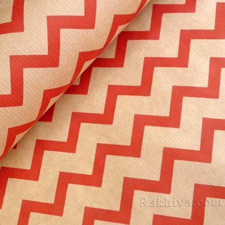 Крафт хартия за букети и опаковане Зиг - Заг, 60 см/ 25 м, натурал, червено (60/25/18330-80)