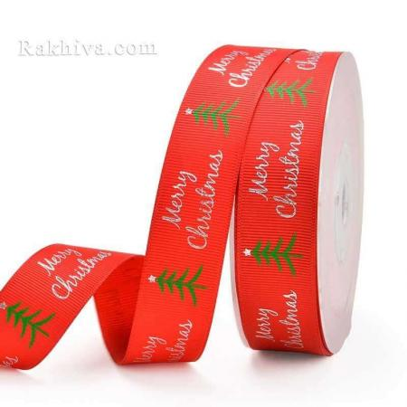 Merry Christmas Релефен сатен, 25 мм/ 4.5 м Merry Christmas червено/сребро (25/5/81-300)