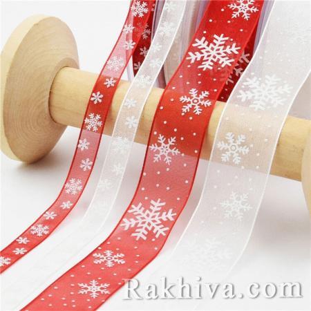 Коледна органзена панделка  Снежинка, 25 мм/ 10 м (червена снежинка) (25/10/80)