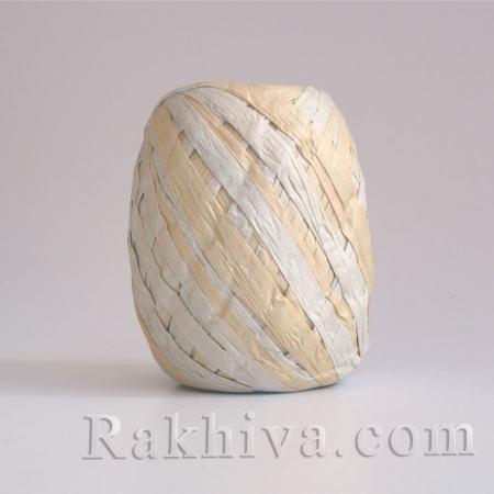 Хартиена рафия двуцветна, натурал, сребро (20/25/6230-300)