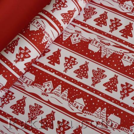 Италиански целофан Коледна приказка Червено, Бяло, 100 см х 100 см (листи) (100/100/82/80-10)