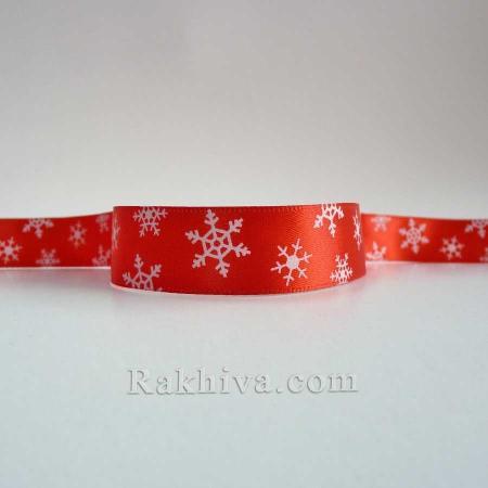 Панделка сатен Червена снежинка