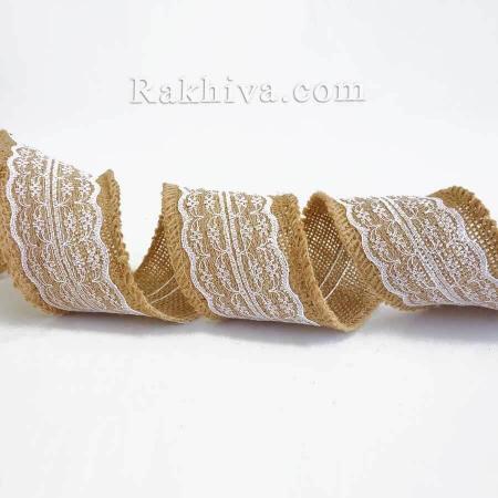 Натурална панделка ЛЕН и Дантела, 48 мм/ 4.5 м (48/5-02)