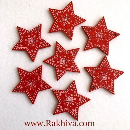 Дървени червени звезди, червени звезди 5 бр.