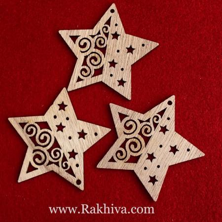 Дървени натурални звезди с канап