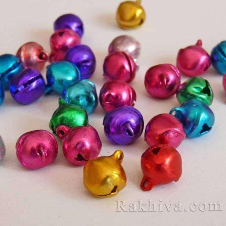 Звънчета - шарени металик (за бижута, за изработка на полички за танци, туту, роклички за малки принцеси), 8 мм/ 10 мм ( 50 бр.)