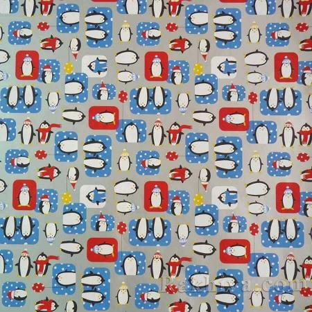 Италианска коледна хартия  Пингвин, 70 см/100 см, сребро (70/100/4)