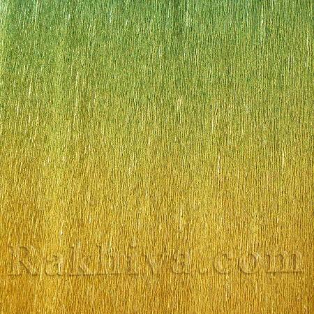 Луксозна крепирана хартия (Италия Cartotecnica rossi), зелено,злато  801/2