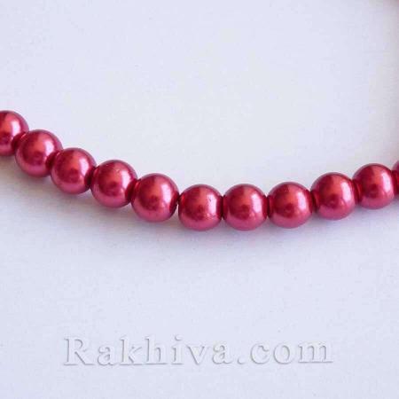 Перли (изкуствени) за изработка на бижута, за декорация, за украса - червено, 1 наниз 8 mm/110 бр. (HY-8D-B73)