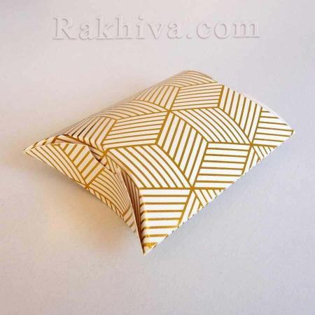 Малки кутийки за подаръчета , бяло, златно райе 1 бр. , 70х90х25 мм
