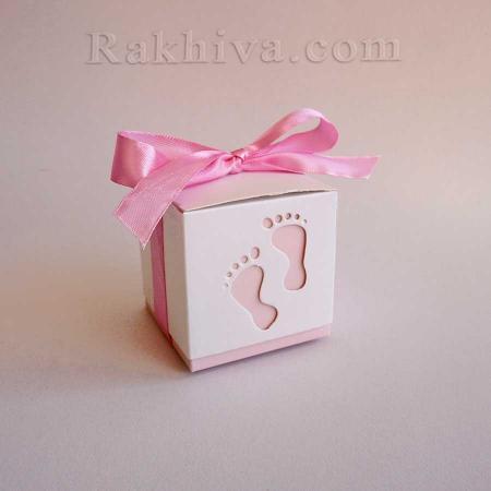 Малки кутийки за подаръчета , кутийка бебе розово 1 бр, 60х60х60 мм