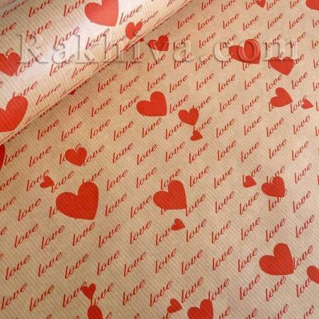 Крафт хартия за букети и опаковане Сърца, 60 см/ 25 м, сърца (60/25/61830-80)
