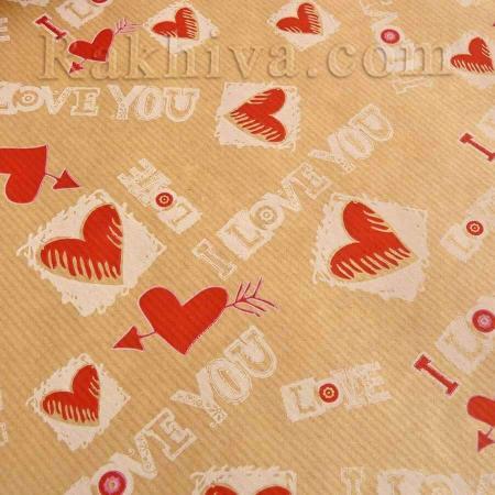 Крафт хартия за букети и опаковане I love you, 60 см/ 25 м , I love you червено, екрю (60/25/81830-80-12)