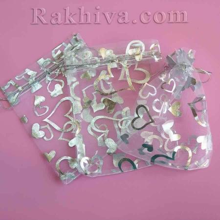 Торбички от органза бяло със сребърни сърца, 10 см/12 см (10/12/8210-1) над 600 броя